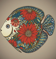 hand drawn fish with floral elements vector image vector image