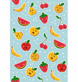 Happy fruits pattern background vector image vector image