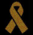 hexagon halftone mourning ribbon icon vector image vector image