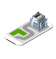 Isometric icon representing modern house with a vector image vector image