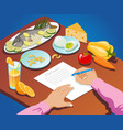 isometric proper nutrition concept vector image vector image