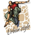 Jump on a skateboard - color vector image
