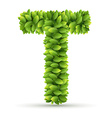 Letter T alphabet of green leaves vector image
