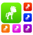 little pony set color collection vector image vector image