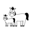 mare and foal cartoon vector image