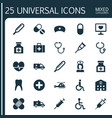 medicine icons set collection of review plus vector image vector image