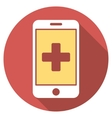 Mobile Medicine Flat Round Icon with Long Shadow vector image