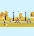 park in fall people walk in autumn park vector image