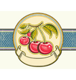 Red cherries background vintage label on old paper vector image vector image