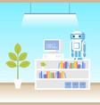 robot programming lab machine science technology vector image vector image