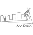 sao paolo city one line drawing vector image vector image