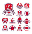 Set of cool fighting club emblems martial training vector image
