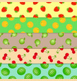set of seamless patterns fruits and berries vector image vector image