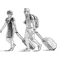 sketch a couple vacationers with luggage vector image vector image
