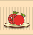 sliced tomato fresh vegetable on dish vector image vector image