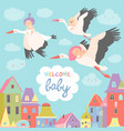 storks with babies vector image vector image