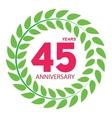 Template Logo 45 Anniversary in Laurel Wreath vector image vector image