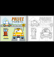 traffic with funny vehicles coloring page or book vector image vector image
