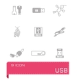 USB icon set vector image