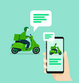 user chat with delivery man riding scooter vector image vector image