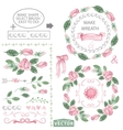 Watercolor pink roses decor brushes and wreath vector image vector image
