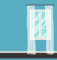 white plastic window with transparent curtains vector image