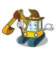 witch excavator mascot cartoon style vector image vector image