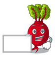 with board cartoon fresh harvested beetroots in vector image