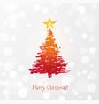 greeting card with christmas tree and big star vector image