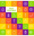 Line Art Fruit Vegetable Icons Set vector image