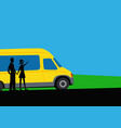 a boy and a girl are traveling minibus vector image vector image