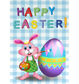 A happy easter card with a bunny and an egg vector image vector image