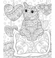 adult coloring bookpage a cute cat on pillow vector image vector image