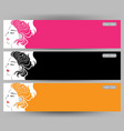 banners with stylish of long hair woman cards vector image