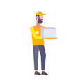 bearded postman man holding cardboard box man vector image