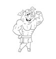 black and white of powerful male pig bodybuilder vector image