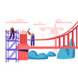 builder man building bridge with bricks vector image vector image