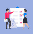 business checklist concept people put marks in vector image