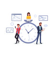 business team near big round clock vector image