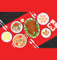 christmas food on the table table for festive vector image