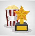 cinema pop corn and trophy winner vector image