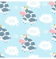Cow and milk seamless pattern vector image