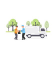 creative of garbage truck and worker vector image