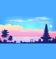 dark balinese temple and palm trees silhouettes vector image
