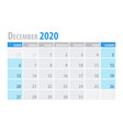 december calendar planner 2020 in clean minimal vector image