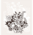 engraved abstract flower card background elegant vector image