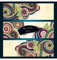 Ethnic Pattern Cards With Paisley Doodles and vector image vector image