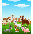 farm animal cartoon on the field vector image vector image