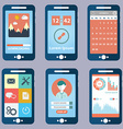flat collection modern mobile phones vector image vector image
