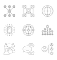 Global network icons set outline style vector image